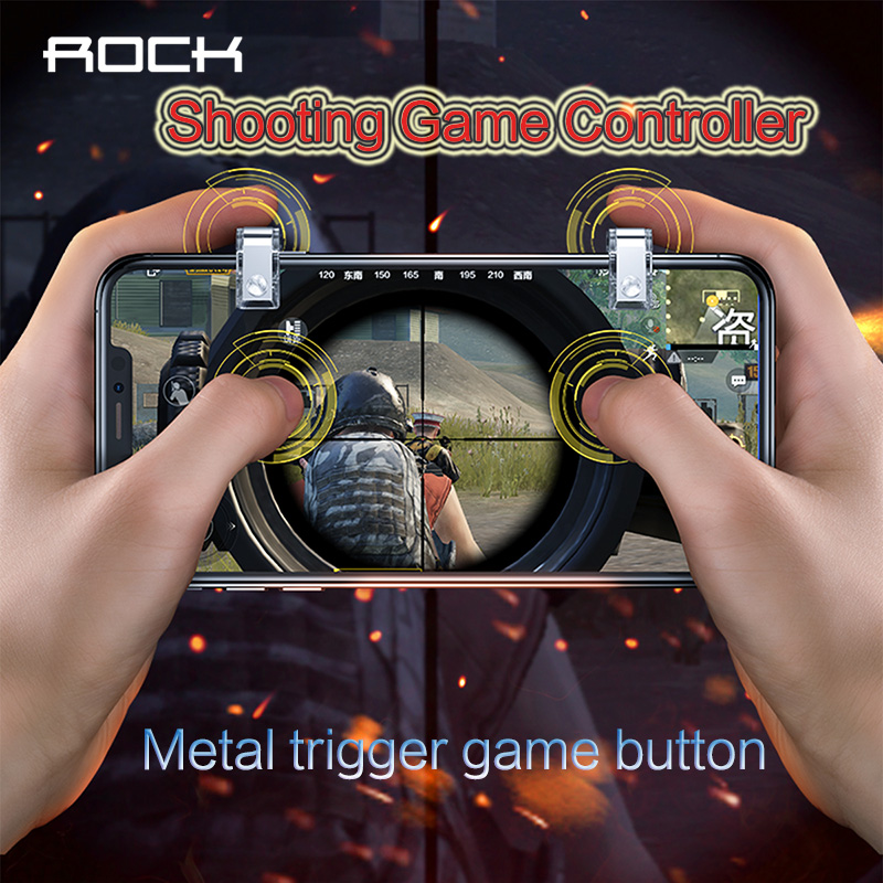 ROCK L1 R1 Gaming Trigger Smart Phone Games Shooter Controller Fire Button Handle For PUBG / Rules of Survival bellow 6.5 inches image