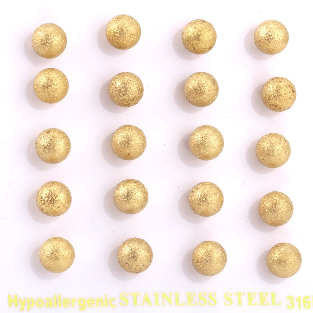LUXUKISSKIDS Sand Blasted Yellow Gold Color Ball Stud Earrings 4mm To 8mm Use 316L Surgical Stainless Steel,High Quality!