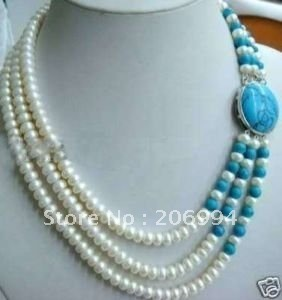 wholesales design 3 Row blue stone clasp 6-7mm White freshwater Pearl necklace lowest fashion jewelry,gift free shipping