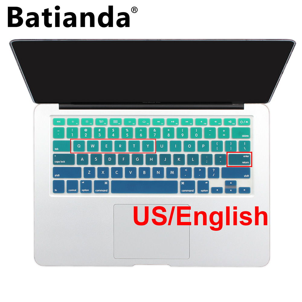 "Градиент Ombre Colours США раскладка клавиатуры Силиконовая оболочка для MacBook Pro 13 ""15"" 17 ""Retina & Old Air 13,3 дюйма A1466"