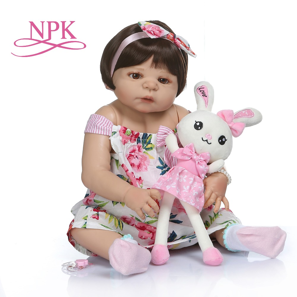 NPK 56CM 0 3M real baby size baby girl in tan skin color full body silicone