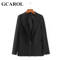 GCAROL New Notched Single Breasted Women Blazer OL Elegant Office Work Suits High Quality Basic Black