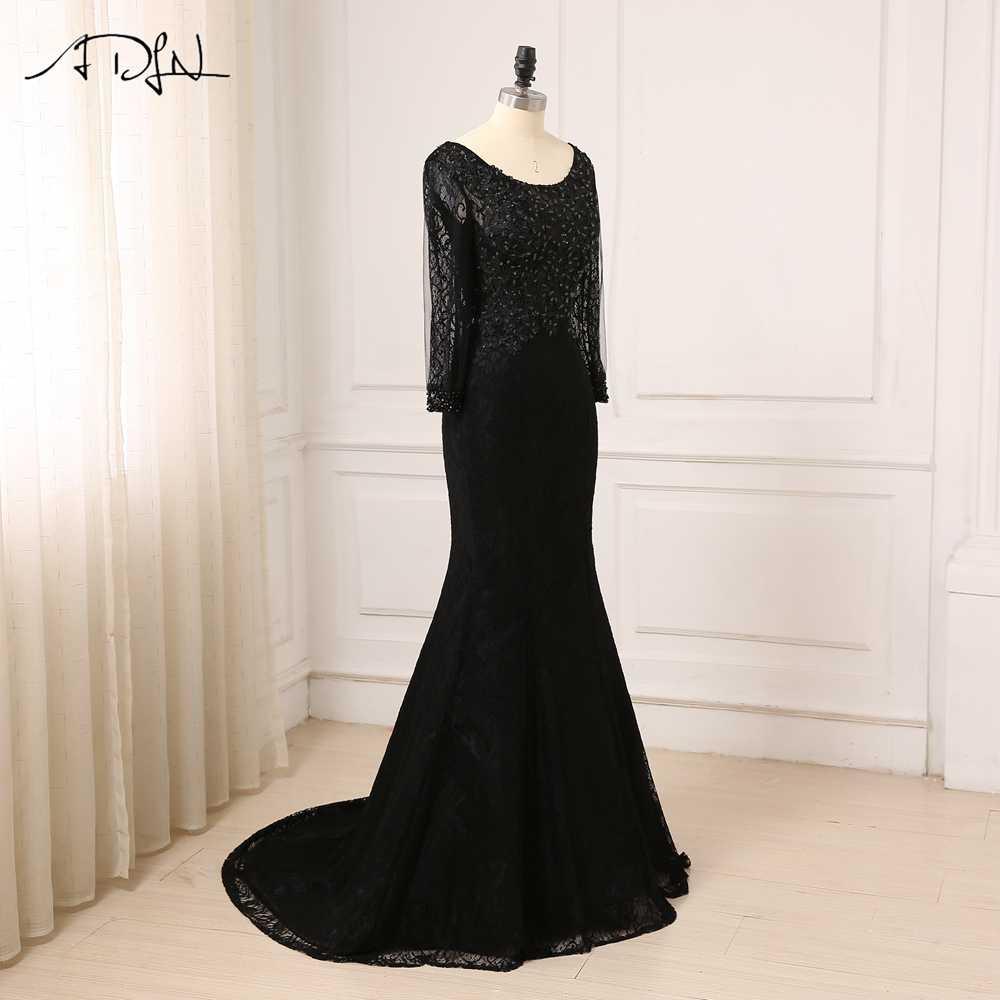 0b326de16a3 ... Adln Дешевые Черный Русалка Вечерние платья одежда с длинным рукавом  Кружево арабский вечернее платье для выпускного ...