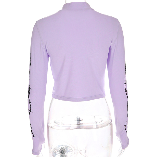 Sweetown Harajuku Crop Top Long Sleeve Turtleneck T Shirt purple Korean fashion Style graphic tees Women Printed Kawaii Tshirt 6