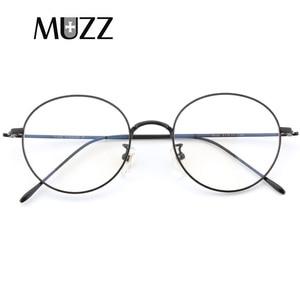 Image 2 - Saf titanyum gözlük çerçeve erkekler Vintage yuvarlak miyopi optik reçete gözlük çerçeveleri yeni kadın kadın Retro Oval gözlük