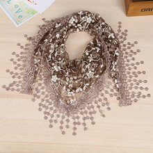 New Lace Sheer Floral Print Triangle Veil Scarf poncho Shawl Hot Wrap Tassel Lace openwork fringed triangle scarfs Echarpe Femme