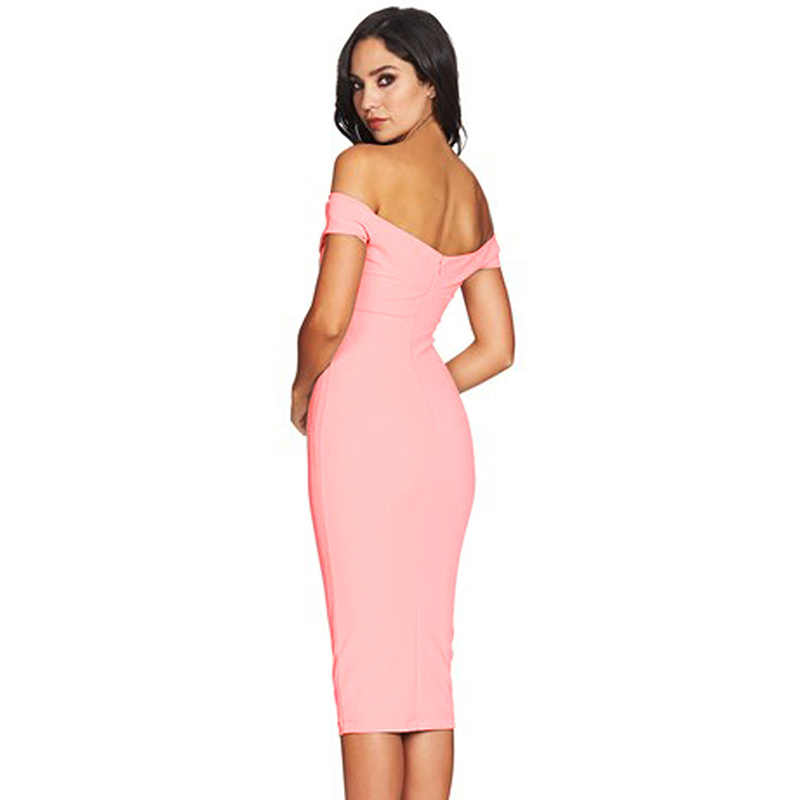 910784ba13f5 ... 2018 Women Sexy Elegant Bodycon cocktail graduation club party Dress  Pink Black Off Shoulder Twist Front ...