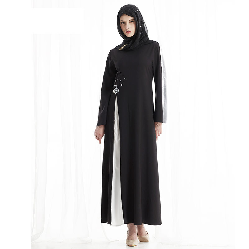 Muslim Maxi Dress Ramadan Middle East Arab Turkish Islamic Prayer Ethnic Clothing Black Abaya Gowns Diamonds Thobe Robe Moroccan in Islamic Clothing from Novelty Special Use