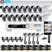 Eyedea 16 CH Email Alert DVR 1080P 5500TVL White Bullet Outdoor LED Night Vision CCTV Security