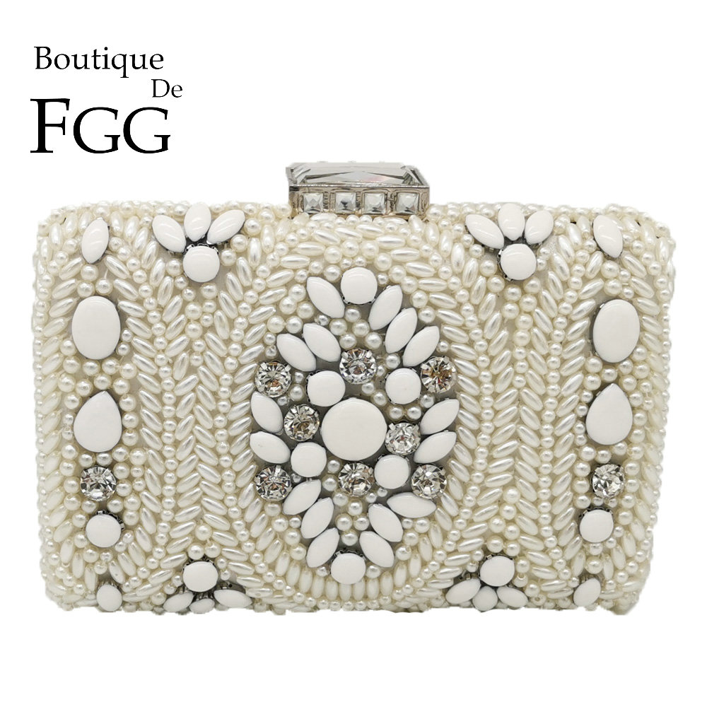 Boutique De FGG Vintage White Beaded Clutch Women Evening Bags Bridal Purses And Handbags Wedding Party Chain Shoulder Bag
