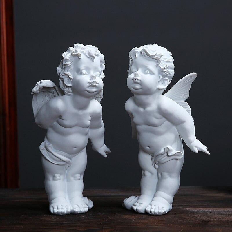 Mignon Angle cupidon Figurines pendule nordique petit ange Sculpture bureau affichage scène de mariage disposition ornement blanc résine artisanat