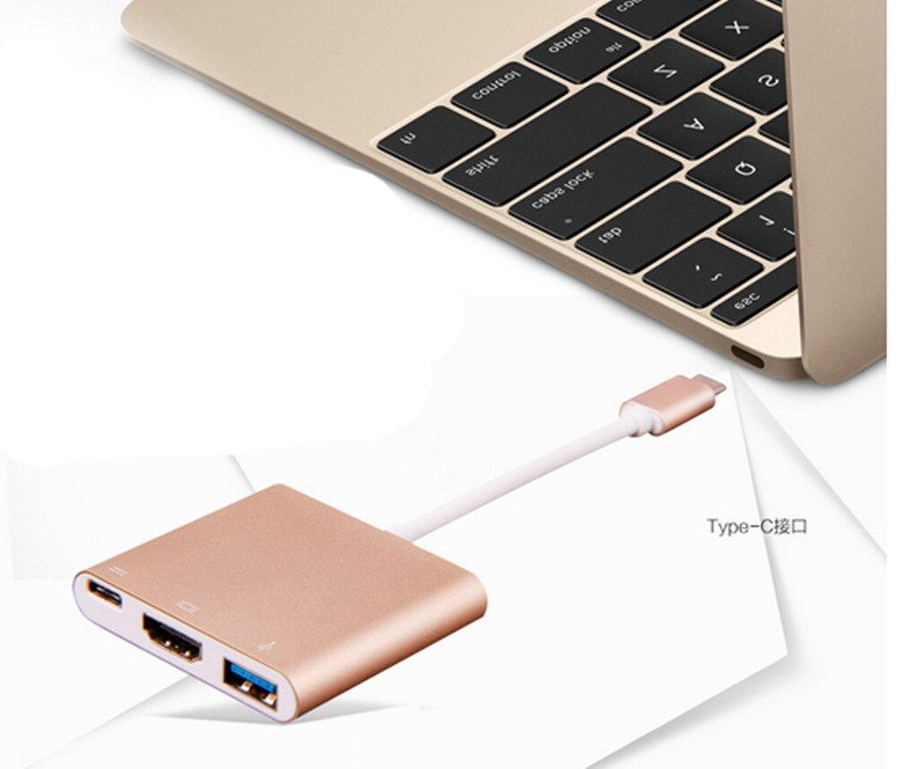 1 шт. USB3.1 Тип C USB 3,0/HDMI/Тип C Женский адаптер 3 в 1 конвертер адаптер для нового Macbook Google Chromebook