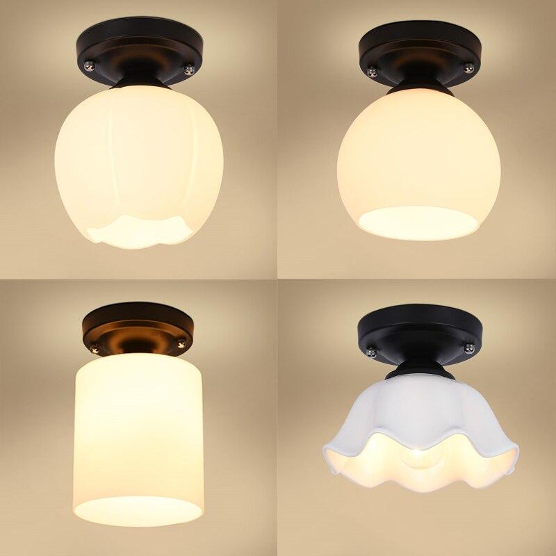 SchöN Kurze Stil Schlafzimmer Nacht Decke Lampe Schwarz Runde Basis Mit E27 Buchse Korridor Balkon Glas Decke Lichter SchüTtelfrost Und Schmerzen Deckenleuchten