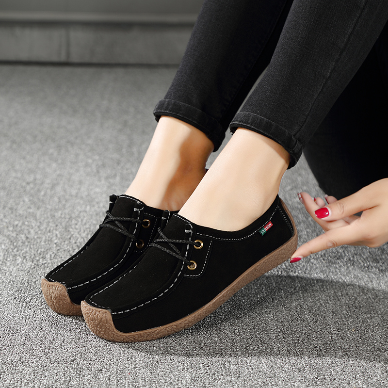 2019 Spring Women Flats   Leather     Suede   Slip on Fringe Loafers Shoes Ballet Flats Flexible Boat Oxford Shoes Creepers X-218-9