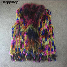 Harppihop natural real rabbit fur vest with raccoon fur collar waistcoat jackets multicolor rabbit knitted winter