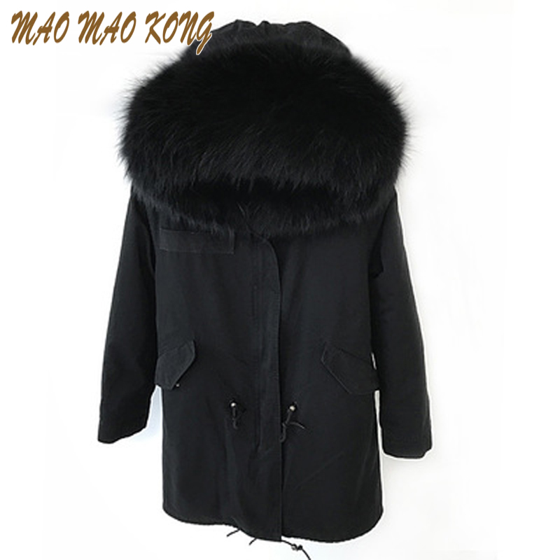 Wint Army Green Thick Parkas Plus Size Real Raccoon Fur Collar Hooded Long Jacket Detachable Faux Fur Liner Winter Parka Outwear plus size 2017 women outwear long camouflage winter jacket thick parkas raccoon natural real fur collar coat hooded pelliccia