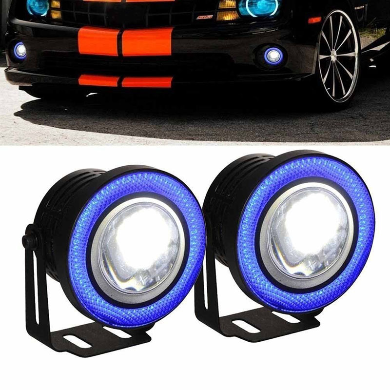 2x 2.5 inch LED Fog angel eyes COB Halo ring DRL Projector Lens Driving car styling replacement accessory auto bulbs for Mazda 2pcs 2 5 car angel eye cob ice blue halo ring led drl projector fog driving light
