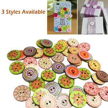 100pcs/set 2-Holes Wooden Buttons for Craft Scrapbooking Accessories Decorativos Sewing Random Mixed