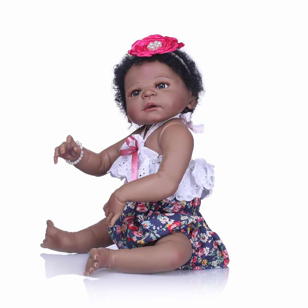 NPK Reborn Girl Dolls 23'' 57 cm black Girl So Truly Realistic Baby Doll Toy Full Silicone Body Waterproof Kids Playmates