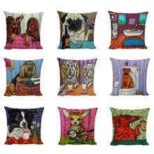 Pillow Cases Dog-Cushion-Cover Bull-Terrier Linen Bulldog Home-Decor Bathroom King Pug
