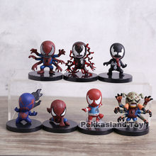 Marvel Super Hero The Amazing Spider Man Spiderman Q Versão PVC Figuras Brinquedos 7 pçs/set(China)