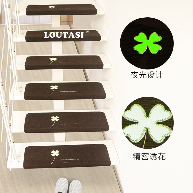 LOUTASI 5pcs Four-leaf pattern Stair Carpet Sets Slip Resistance Stair Mats Step Rugs Safe Treads Soft Carpets Home Decoration
