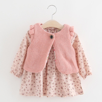 Children Autumn New Dress For Baby Girls Floral Long Sleeve Pastoral Toddler Kids Dresses Knitted Vest