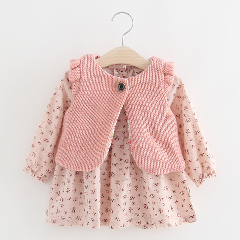 Children Autumn Winter New Dress For Baby Girls Floral Long Sleeve Toddler Kids Dresses Knitted Vest+Mini Dress 2pcs Clothes baby girls knitted sweater clothing dress 2017 autumn winter new long sleeve cute cartoon pattern girl dress children clothes