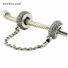 Inspiración esterlina de plata-joyería de perlas cadena de seguridad mujeres diy fit pandora charms pulseras bijouterie plata 925 original