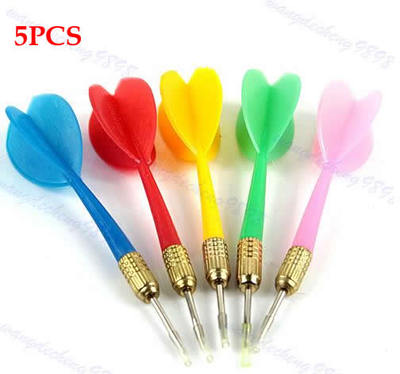 5PCS Color Plastic Wing Darts Needle Kids Tone Dart Steel Brass Throwing Tip Toy 10166