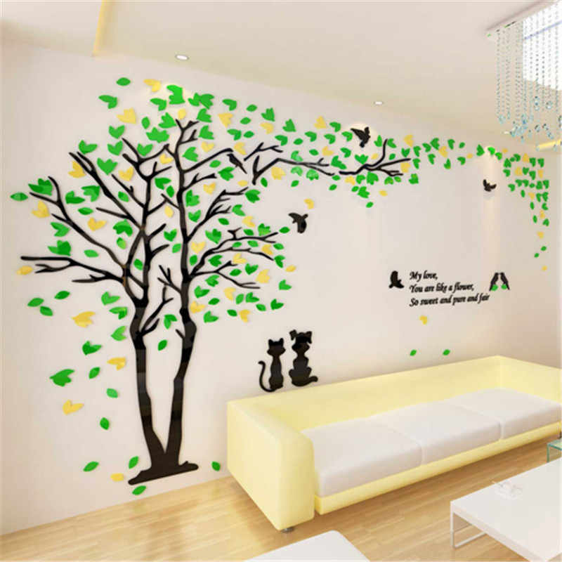 Creative Love Tree 3D Acrylic Art Wall Stickers For Home Decor DIY Gift Sofa TV Background Wall Sticker Quality Poster Pegatinas