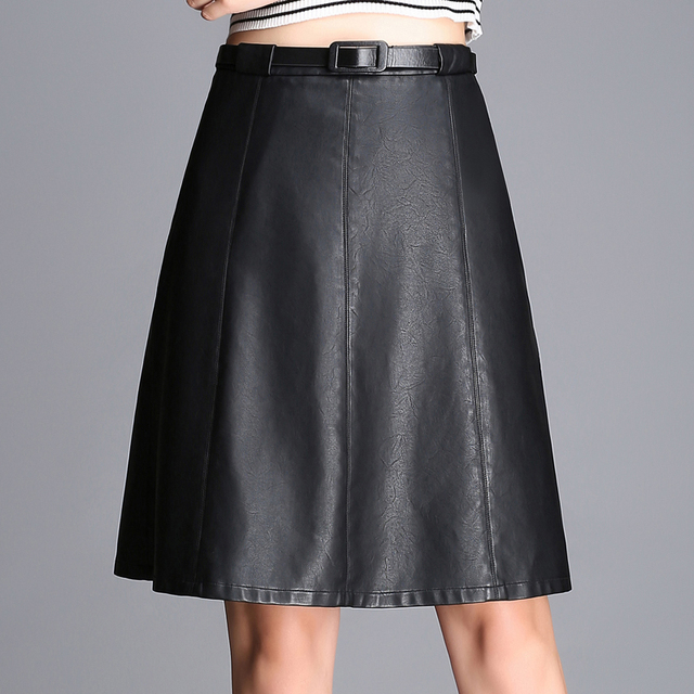 2016 Synthetic Leather Midi Skirts Women's Street Fashion Black/Burgundy PU Leather Knee Length Flare Punk Skirt M-6XL LY16-55E
