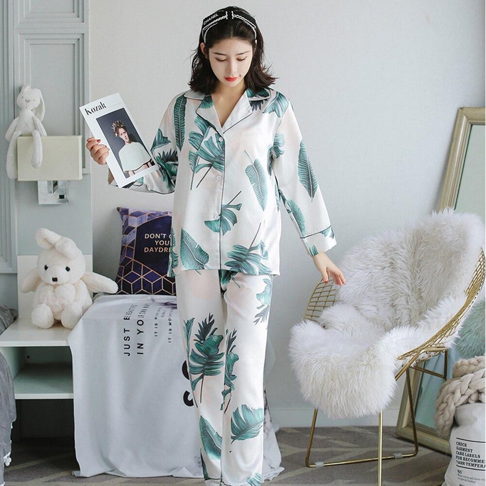 Ladies Sexy Silk Satin Pajama Set  Pyjama Set V-neck Sleepwear Spring Home Wear Sleep Wear For Women Two Piece Set Woman Fashion
