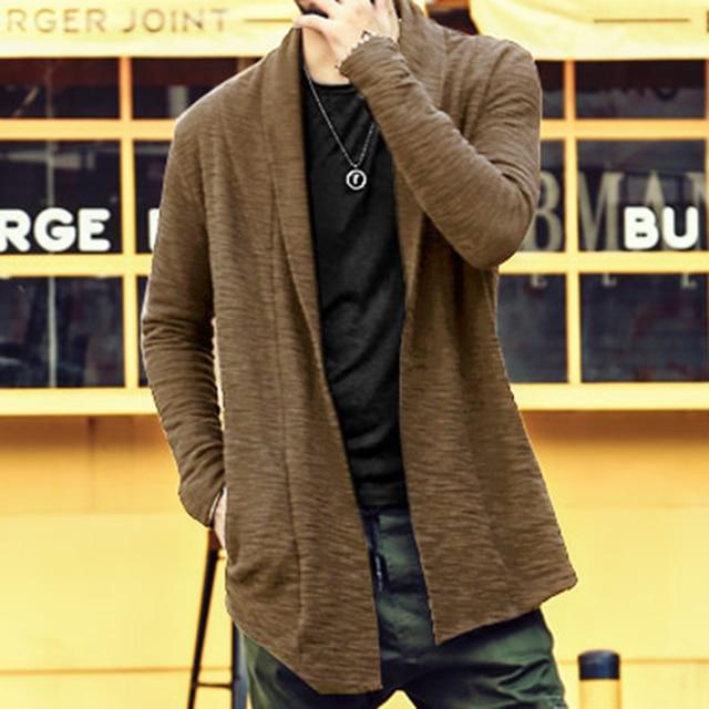 Хлопковый кардиган пальто вязаные masculino Осень Новые мужские зимние пуговиц длинный кардиган большие размеры с карманами мужчин свитер толстый