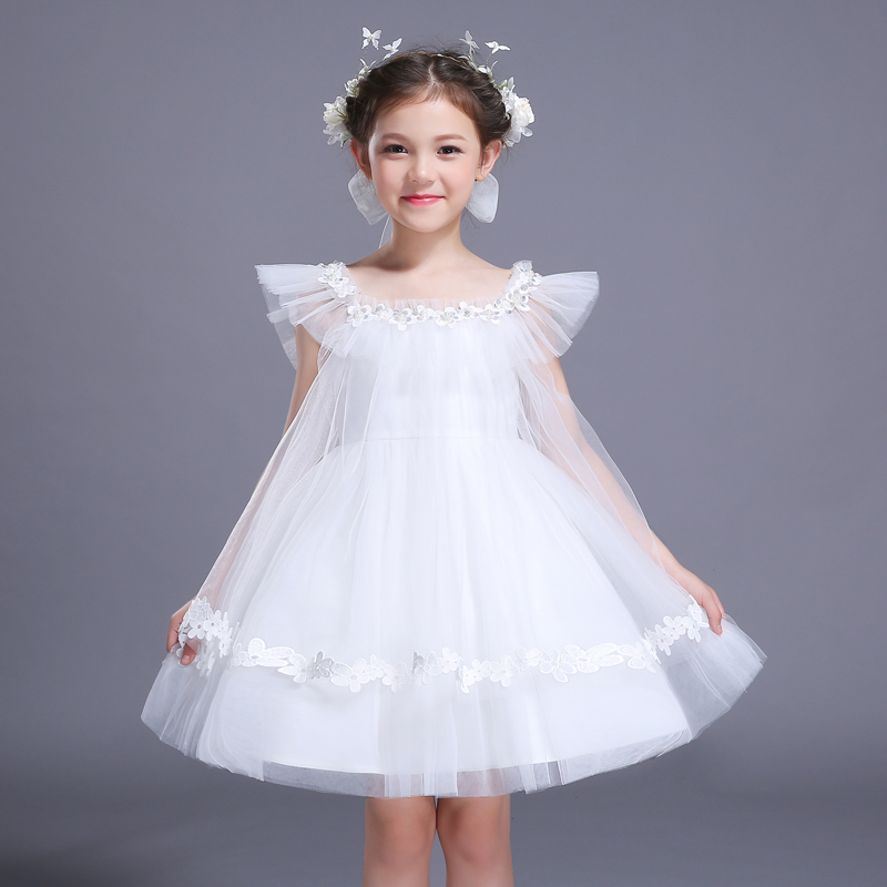 f17e87eef77a6 US $24.99 |New Summer 2018 Kids Princess For Girls Wedding Dress Elegant  Flower Girl Dress Party Hosting Performance Short Dress-in Dresses from ...