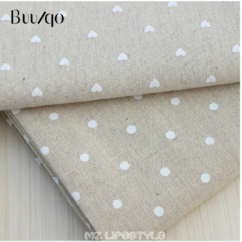 lněná tkanina 004 - Buulqo  cotton and linen fabric printed dots cotton  fabric  DIY sofa curtain tablecloth home decor cotton fabric