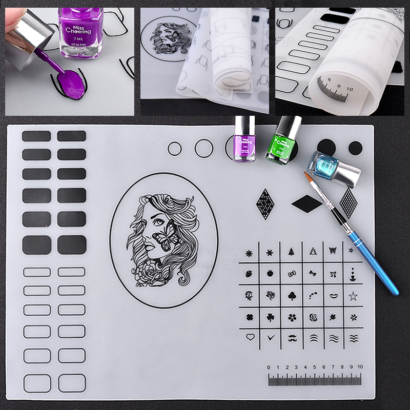 1 Pcs Silicone Nail Art Stamp Stamping Mat Foldable Top Quality Washable Work Space Pad Nail Manicure Tool 3 Patterns Options