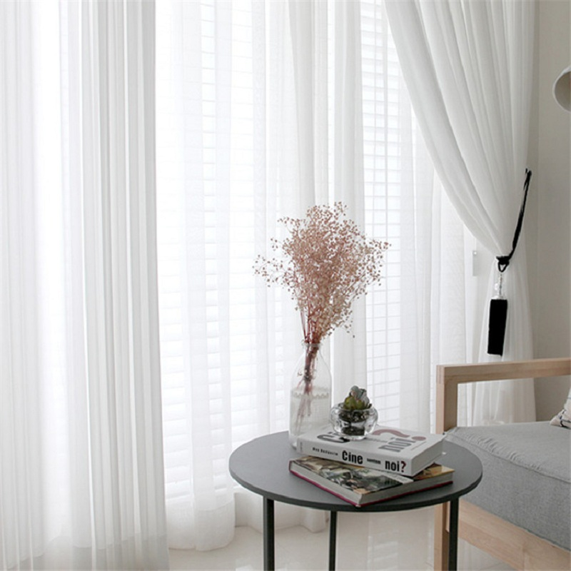 White Tulle Curtains For Living Room Bedroom Decoration Modern Chiffon Solid Sheer Voile Kitchen Window Screens Curtain Yarn