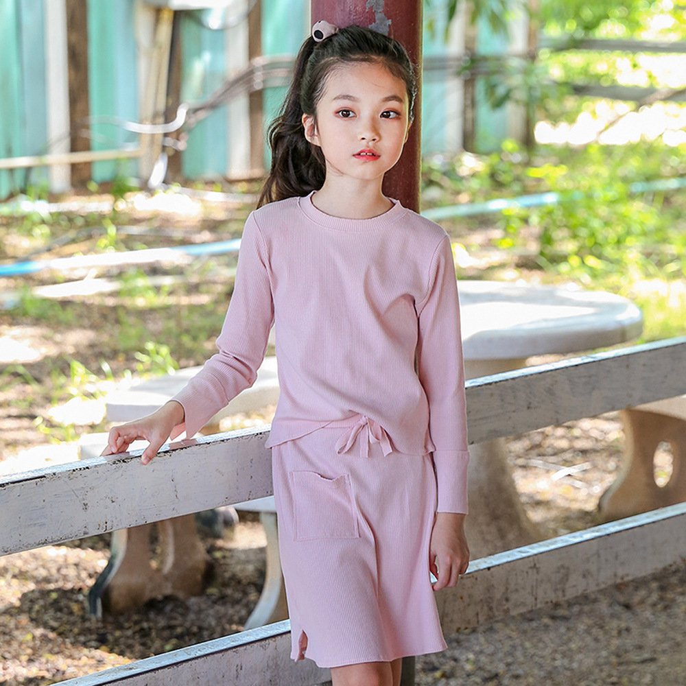 Teens Girl Clothing Sets Kids 2018 Spring Children Knitted Clothes T Shirt+ Skirt 2pcs Set Tracksuits Hoodies + Skirt Set CC702 humor bear baby girl clothes set new sequins letter long sleeve t shirt stars skirt 2pcs girl clothing sets kids clothes