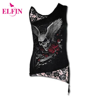 Women T Shirt Sexy Skull Print Sleeveless Punk Tee Shirt Lace Patchwork Black Tee Tops Pullovers