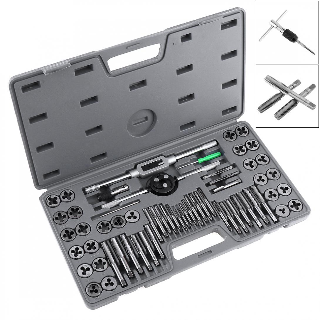 60pcs/set Multifunction Alloy Steel Metric and British Screw Tap & Die Thread Cutting Tapping Hand Tool Kit with Plastic Box 31pcs m1 m2 5 mini metric tap threading die sewt rench holder high speed steel hand tool for woodworking model making watchmaker