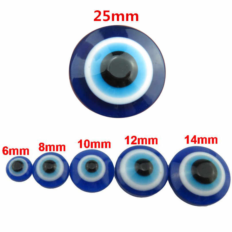 19969 (50/30/25/20/5 pcs/lot) 6/8/10/12/14/25mm Loose Blue Turkish Evil Eye Acrylic Flatback Beads Findings