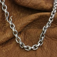Fish hook clasp 925 Sterling Silver Mens Chain Biker Punk Necklace TA141