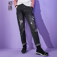 Toyouth 2016 Summer New Arrival Lady Jeans Hole BFF Style Pencil Pants Women Fashion Black Harem