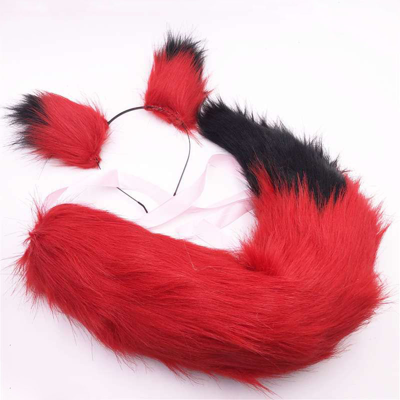Anime cosplay stage props red fox ears plush red tail black stitching fishtail braid with hair accessory