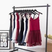 2017 New Summer Lace Mini Spaghetti Strap Dress Cute Style Solid Mesh Stitching Was Thin Dress