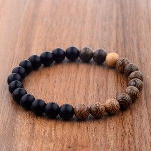 Image 3 - 8mm New Natural Wood Beads Bracelets Men Black Ethinc Meditation White Bracelet Women Prayer Jewelry Yoga Bracelet Homme