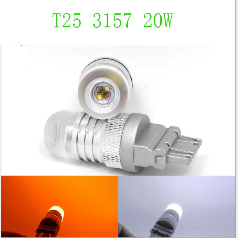 2pcs High Power 3157 T25 CREE Chips Switchback White/Amber LED Bulbs w/ Reflector Mirror Design for Front car Turn Signal Lights