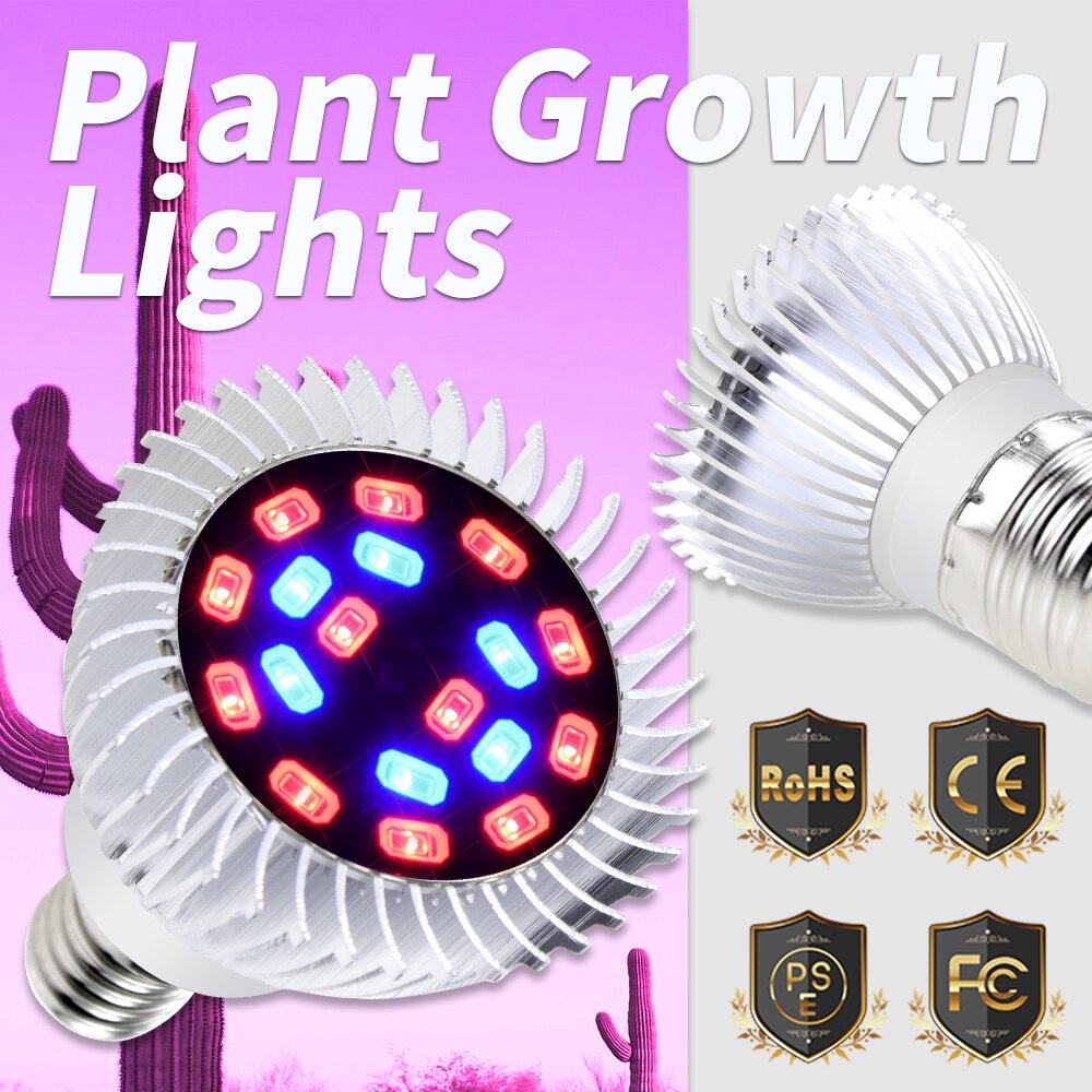 LED Plant Light Bulb E27 Full Spectrum Aluminum Led Plant Grow Spotlight 18leds E14 Indoor Growth Lamp for Hydroponics Grow Tent