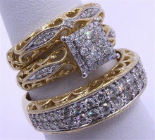 Luxury New 3pcs/set Ring Set Gold Color Multi-layer Cubic Zirconia Engagement Wedding Ring Jewelry High Quality(China)